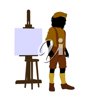 Royalty Free Clipart Image of a Young Artist and Easel