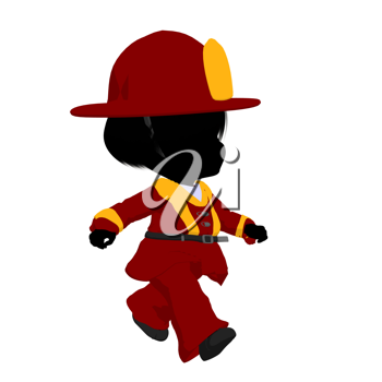 Royalty Free Clipart Image of a Baby Firefighter