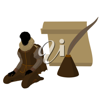Royalty Free Clipart Image of an Elizabethan Man With Pen and Paper