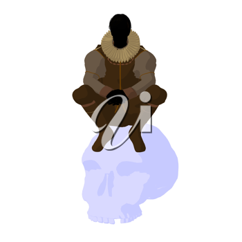 Royalty Free Clipart Image of a Shakespearean Man With a Skull