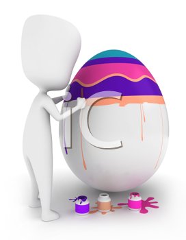 3D Illustration of a Man Decorating an Egg