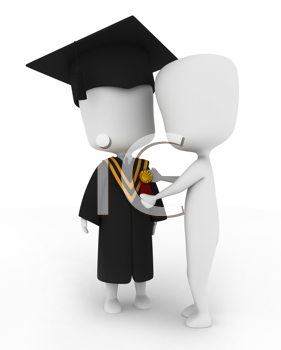 3D Illustration of a Man Pinning a Ribbon on a Graduate