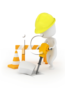 3D Illustration of a Man Using a Jackhammer