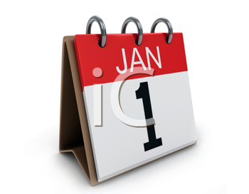 3D Illustration of a Desk Calendar on January 1