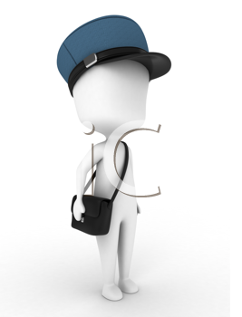 3D Illustration of a Mailman on His Way to Deliver Letters
