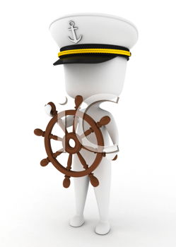 3D Illustration of a Ship Captain holding the Steering Wheel