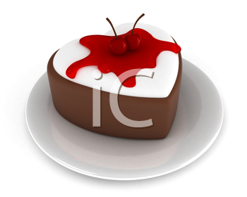 Illustration of a Heart-shaped Cake with Cherries and Syrup on Top