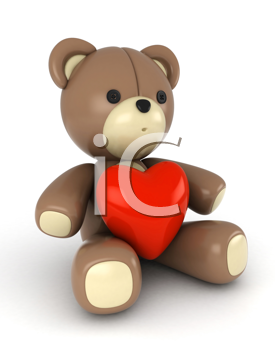 3D Illustration of a Bear with a Heart-shaped Accessory