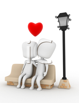 3D Illustration of a Couple Cuddling on a Bench