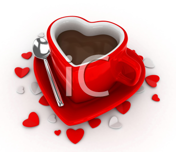 3D Illustration of a Heart-shaped Cup Surrounded by Heart-shaped Pieces of Paper