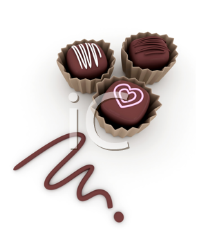 3D Illustration of Tiny Chocolates with Decorative Frostings on Top