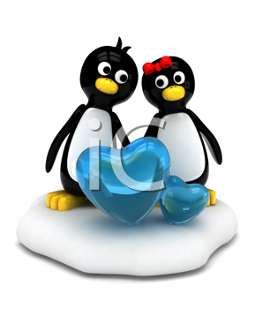 3D Illustration of a Penguin Couple Standing Side by Side on Ice