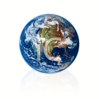 3d Earth planet on white background. Prototype from nasa web site.