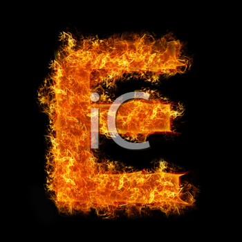 Fire letter E on a black background