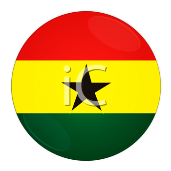 Abstract illustration: button with flag from Ghana  country