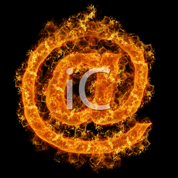 Fire sign mail on a black background
