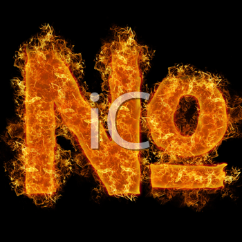 Fire sign number on a black background