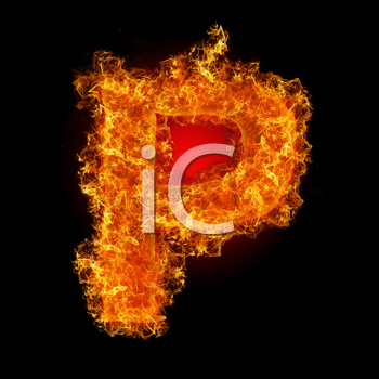 Fire letter P on a black background