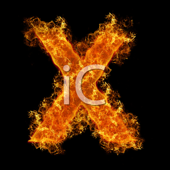 Fire letter X on a black background