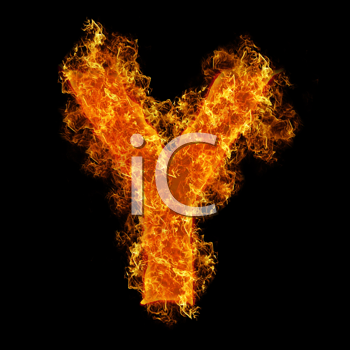 Fire letter Y on a black background
