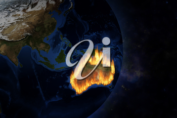 View of Australia from space with terrible fire. Elements of this image furnished by NASA