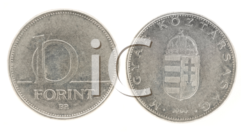 Royalty Free Clipart Image of Ten Forint - Hungarian Currency
