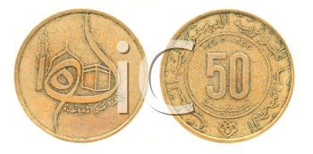 Royalty Free Clipart Image of Fifty Centimes - Money of Algeria