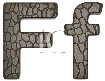 Royalty Free Clipart Image of Alligator Skin Font F Lowercase and Capital Letters