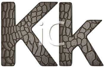 Royalty Free Clipart Image of Alligator Skin Font K Lowercase and Capital Letters