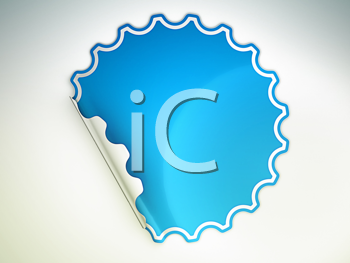 Royalty Free Clipart Image of a Blue Sticker