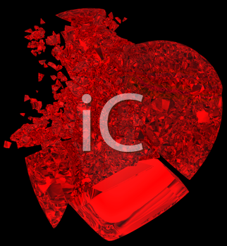 Royalty Free Clipart Image of a Broken Crystal Heart