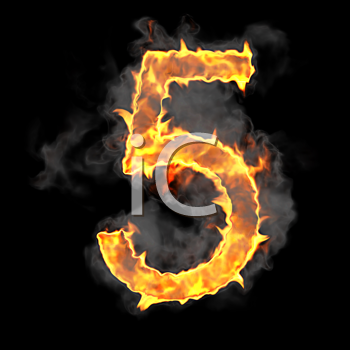 Royalty Free Clipart Image of a Burning Number Five