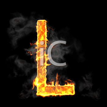 Royalty Free Clipart Image of a Burning Letter L