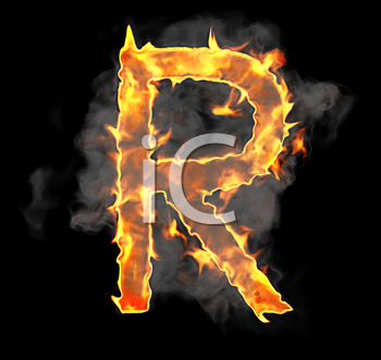 Royalty Free Clipart Image of a Burning Letter R