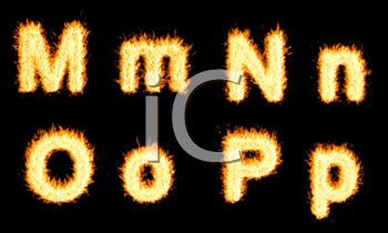 Royalty Free Clipart Image of Burning Letters M, N, O and P