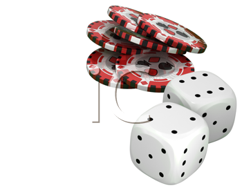 Royalty Free Clipart Image of Casino Chips and Dice