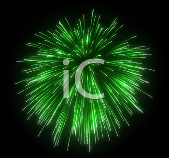 Royalty Free Clipart Image of Green Fireworks