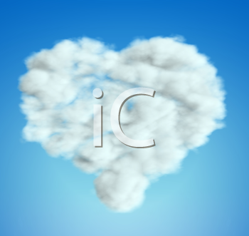 Royalty Free Clipart Image of a Heart Shaped Cloud