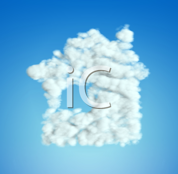 Royalty Free Clipart Image of Clouds Forming a House