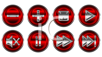 Royalty Free Clipart Image of Red Control Panel Buttons