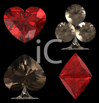 Royalty Free Clipart Image of Diamond Shape Card Suits