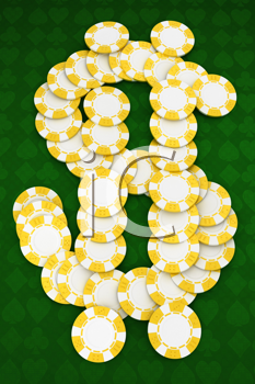 Royalty Free Clipart Image of Dollar Shaped Casino Chips