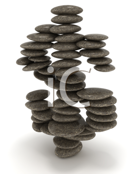 Royalty Free Clipart Image of Pebbles Stacked in the Dollar Sign