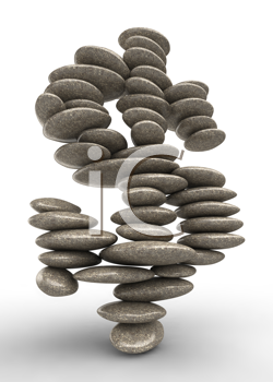Royalty Free Clipart Image of Stones Forming a Dollar Sign