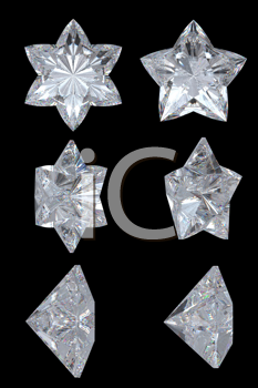Royalty Free Clipart Image of Star Diamonds