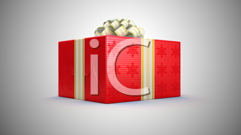 Royalty Free Clipart Image of a Red Present