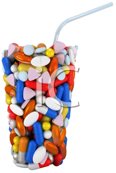 Royalty Free Clipart Image of a Glass Made of Pills