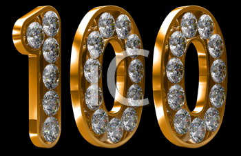Royalty Free Clipart Image of a Golden One Hundred Incrusted With Diamonds