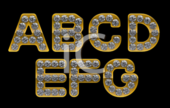 Royalty Free Clipart Image of Golden Letters Incrusted With Diamonds
