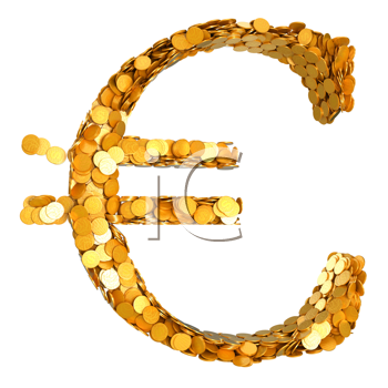 Royalty Free Clipart Image of Euro Symbol Made of Coins